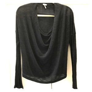 Splendid long sleeve blue and black knit top